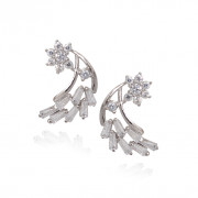 Crystal Star Silver Earring