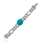 Sterling Silver Lucky Blue Stone Men's Bracelet