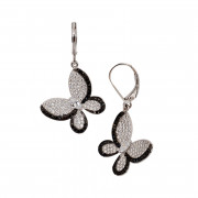 Sterling Silver Cubic Zirconia Pave Butterfly Earrings