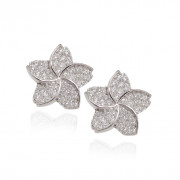Five Petal Flower Silver Screw Back Earrings