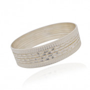Silver Hammered Set of Bangles