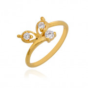 Three Stone Knot Gold Ring