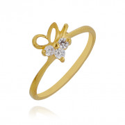 Sparkling 3 Stone Leaf Baby Gold Ring