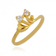 Floral 2 Stone Leaf Gold Baby Ring