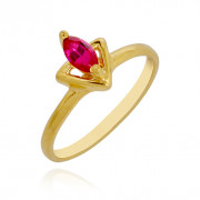 Centered Red Stone Triangle Baby Ring