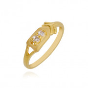 Twisted Arrow 2 Stone Studded Gold Baby Ring