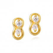 Dual Stone Infinity Gold Earring