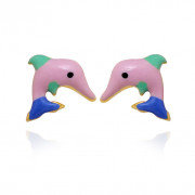 Jumping Dolphin Enameled Gold Earrings