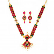 Traditional South Indian Design Ruby Necklace Set with uncut Diamonds