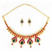 Madagascar Rubies & Emeralds Studded Necklace Set with uncut Diamonds