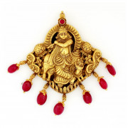 Traditional South Indian Nagas Work Krishna Pendant with Ruby Drop