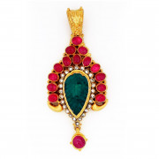 Mughal Inspired carved emerald Leaf Pendant surrounded by Uncut Diamonds and Rubies
