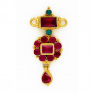 Antique Ruby & Emerald Pendant with Ruby Drop