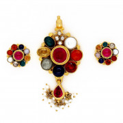 Original Antique Navaratna Stone studded Pendant with Ear studs