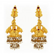 Traditionally Handmade Bridal Jhumkas with Pearl Beads