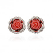 Love Rose Flower Silver Earring