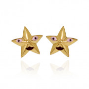 Star Face Gold Earrings for Baby and Children