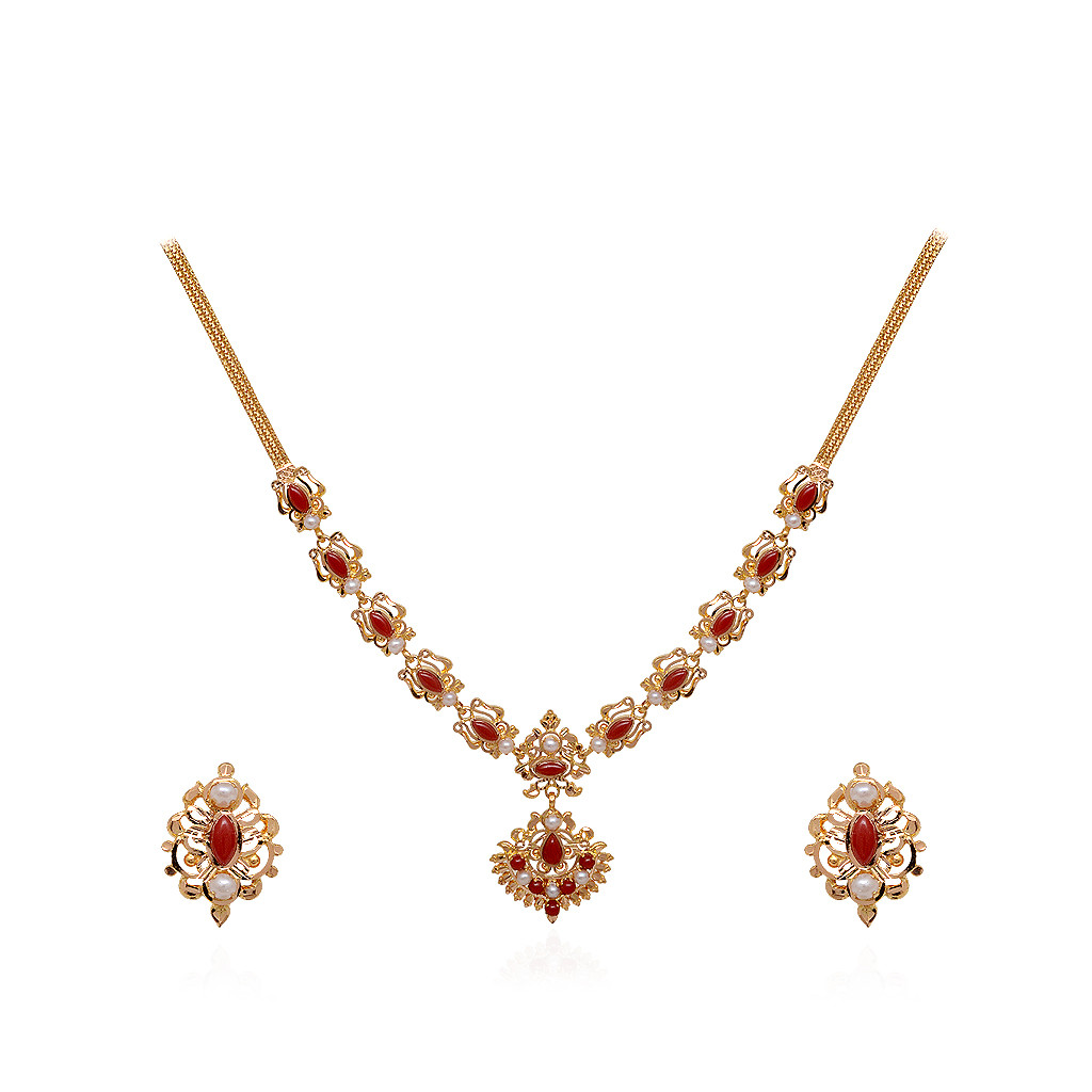 22 Kt Designer Gold Necklace with Coral Beads