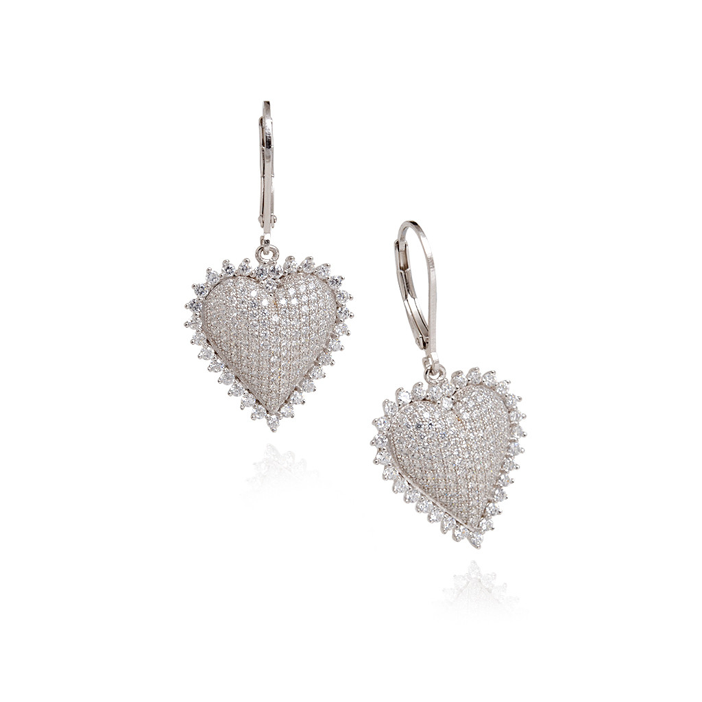 Shiny crystal heart - shaped cubic zirconia silver Earring