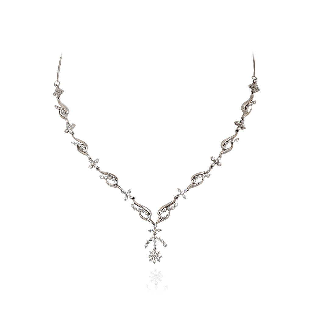 Queen's Delight Platinum Necklace with White Diamond