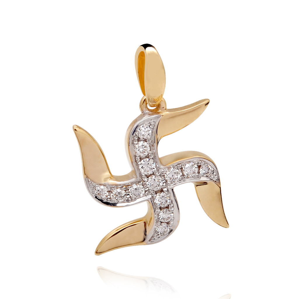 Gold Swastick Diamond Pendant