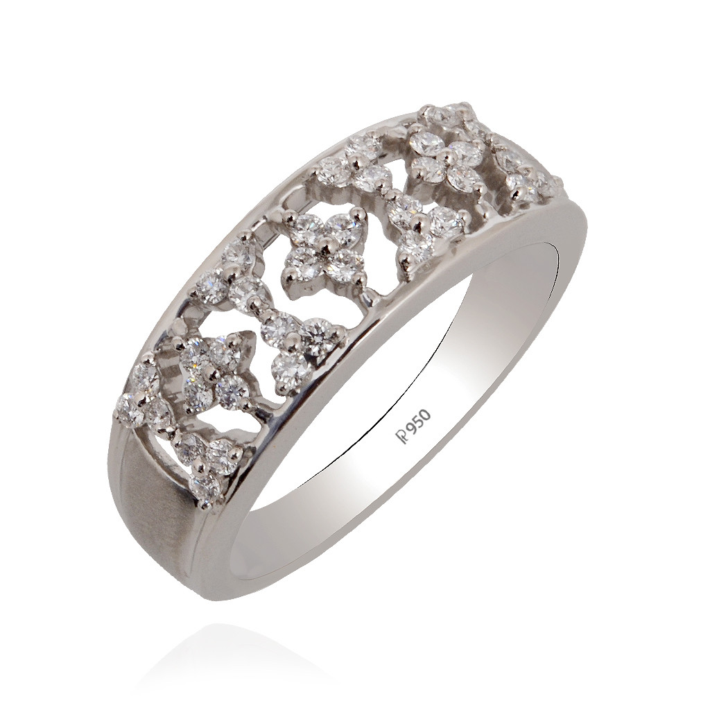Floral Wedding Band Platinum Ring