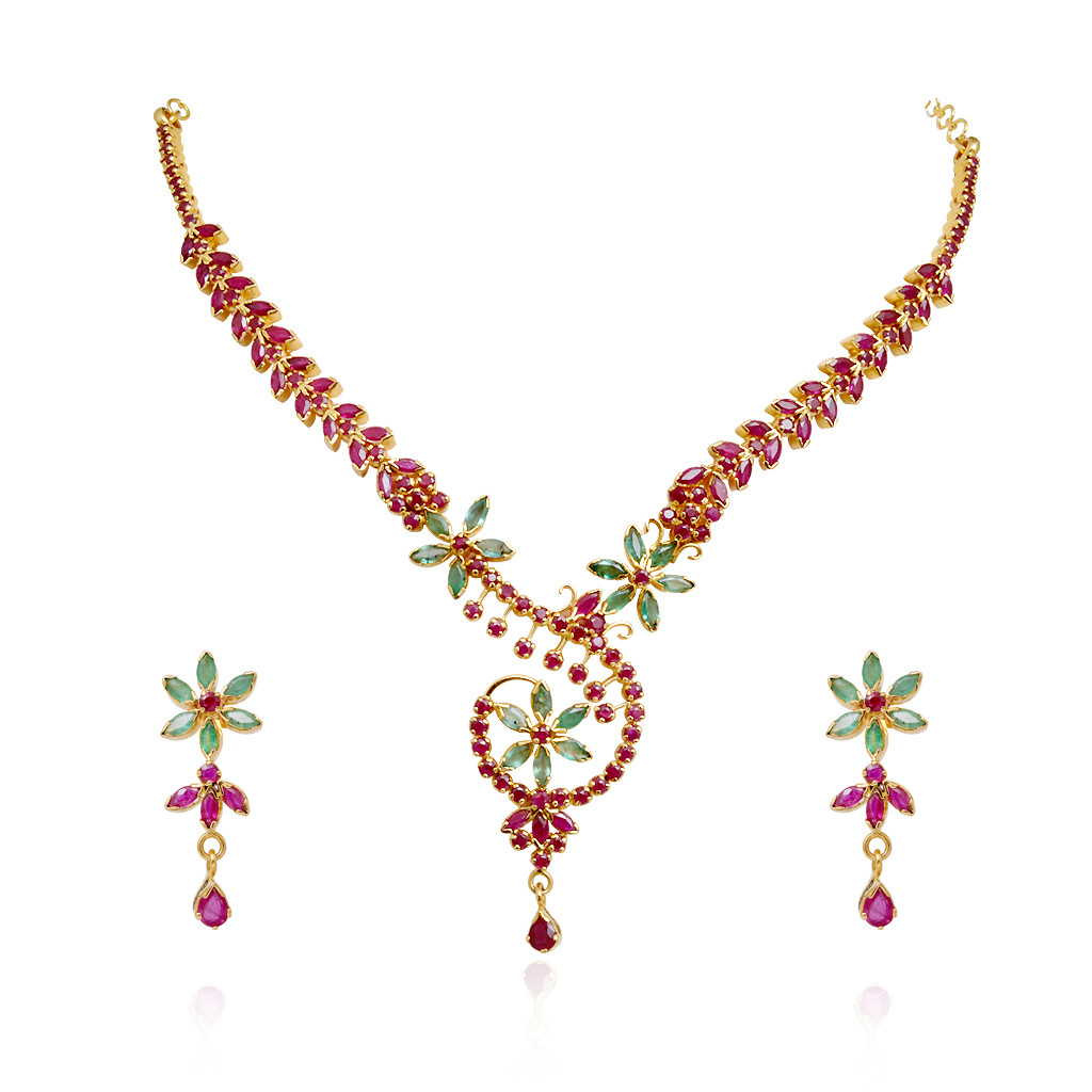 Six Petal Flower Ruby & Emerald Necklace with Droplet