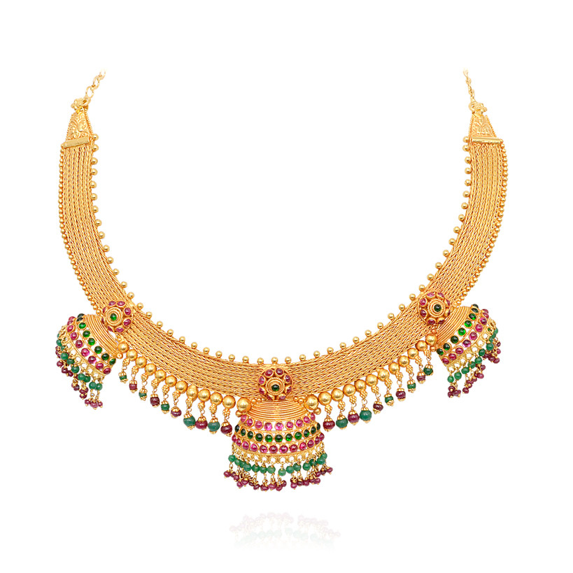 Ruby &  Emerald Beads Necklace