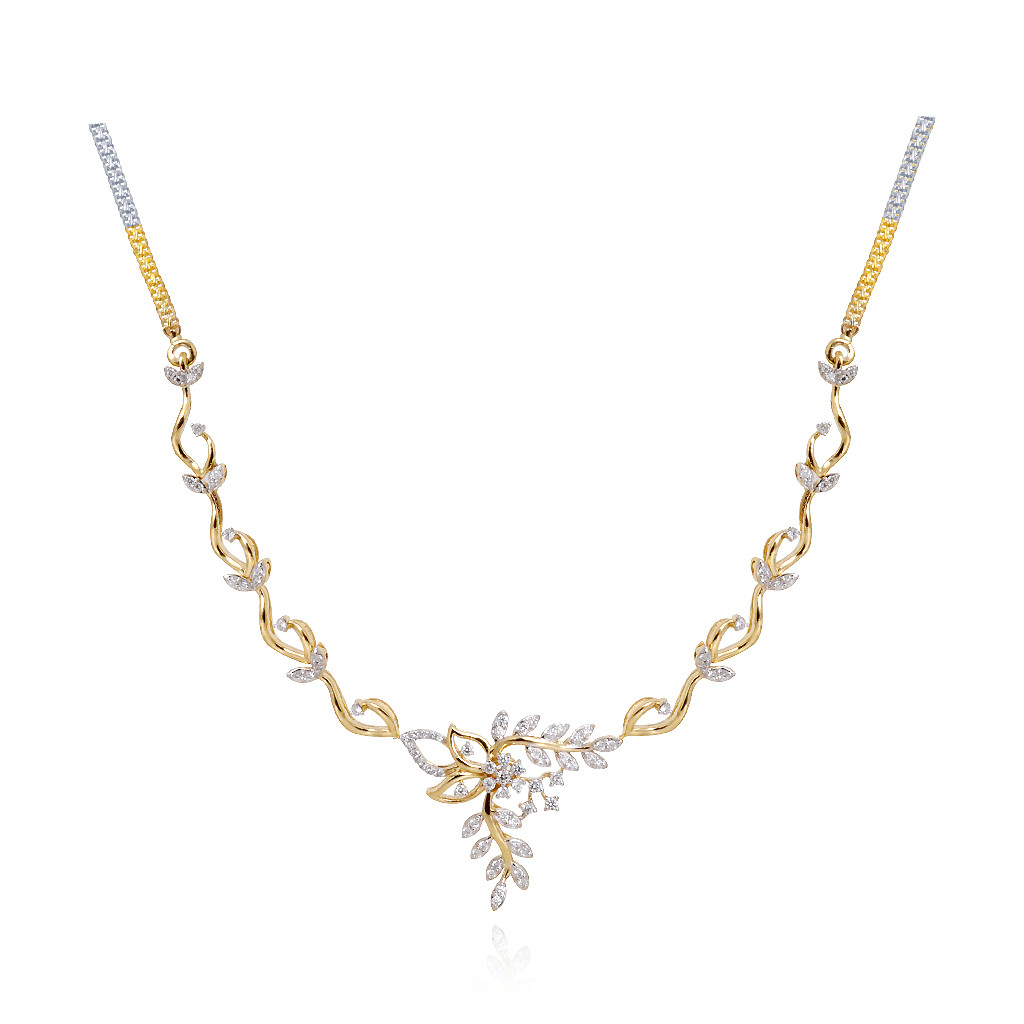 18 Kt Mini Feather Diamond Necklace in Yellow Gold