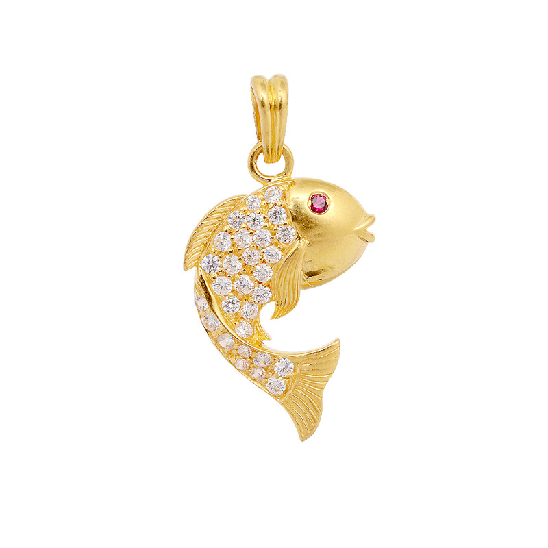 Pendants yellow gold fish pendant grt jewellers for Gold fish charm