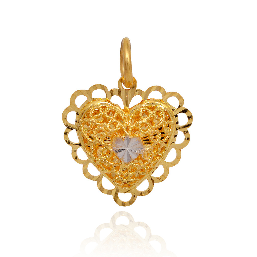 Two Layer Beautiful Heart Gold Pendant