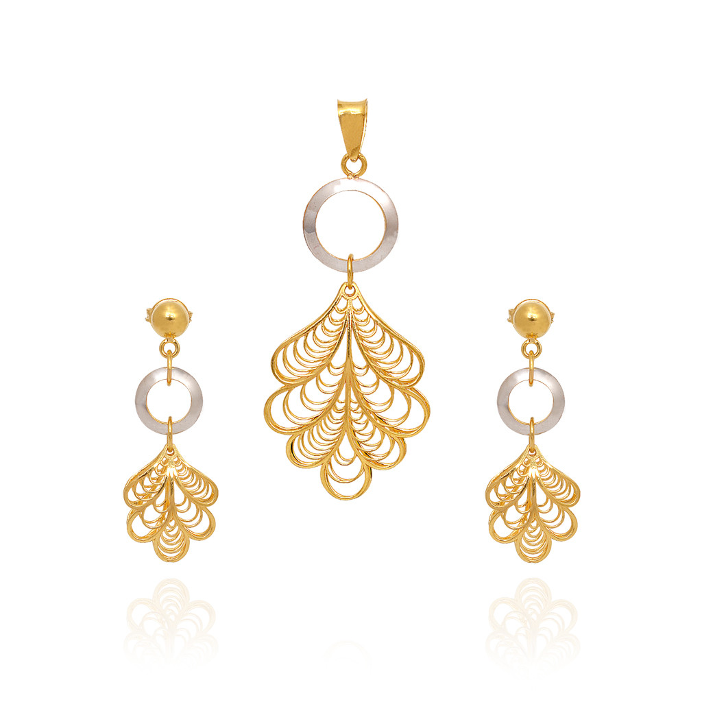 pendants duo tone leaf droping gold pendant set grt