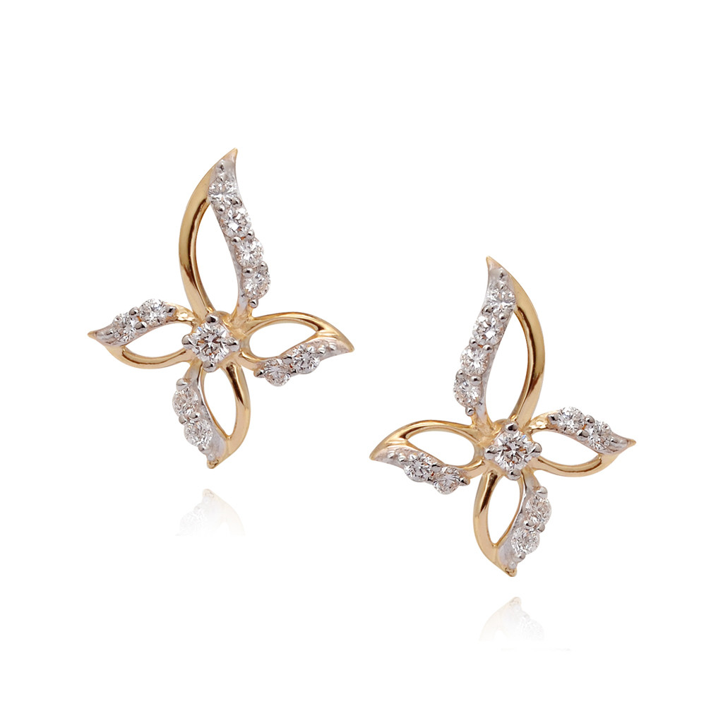 Sparkled Flowery Shape Diamond Earring