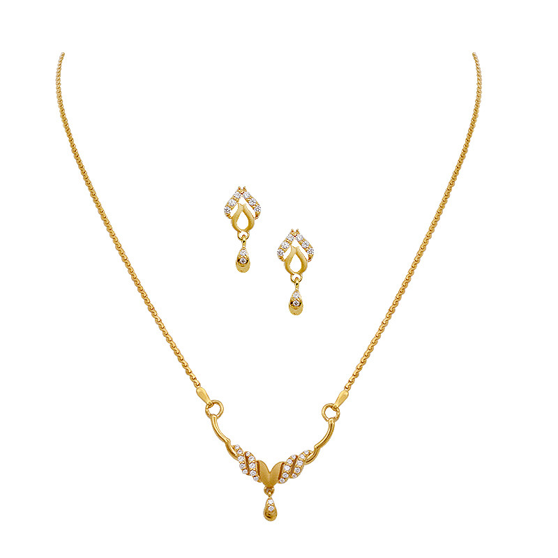 Delicate V Shape Gold Necklace With Earring