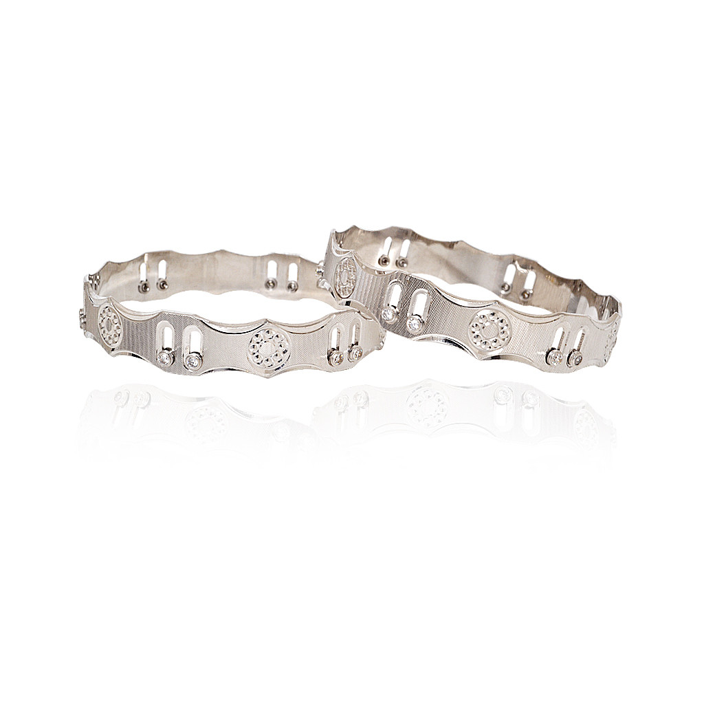 Duo-tone Textured Silver Bangle