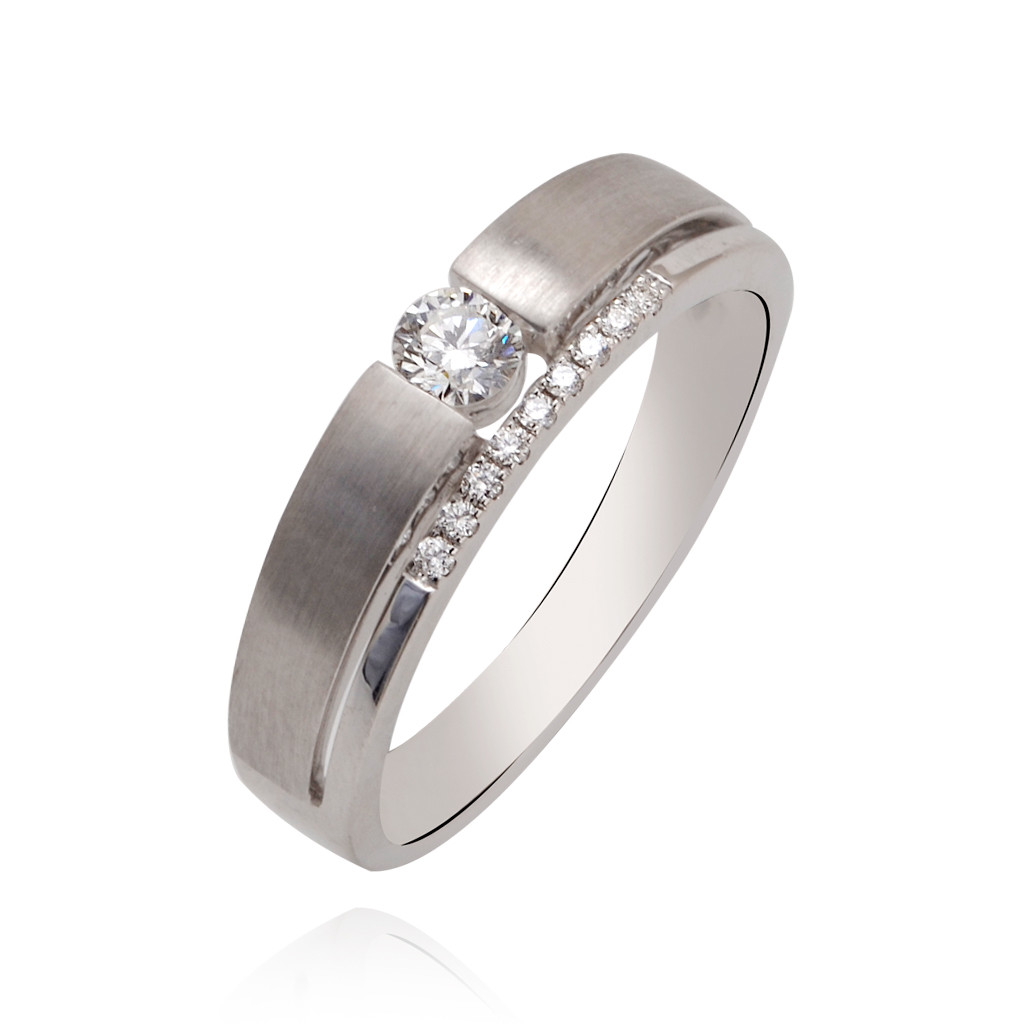 The Clasped Band With Centered Diamond Ring