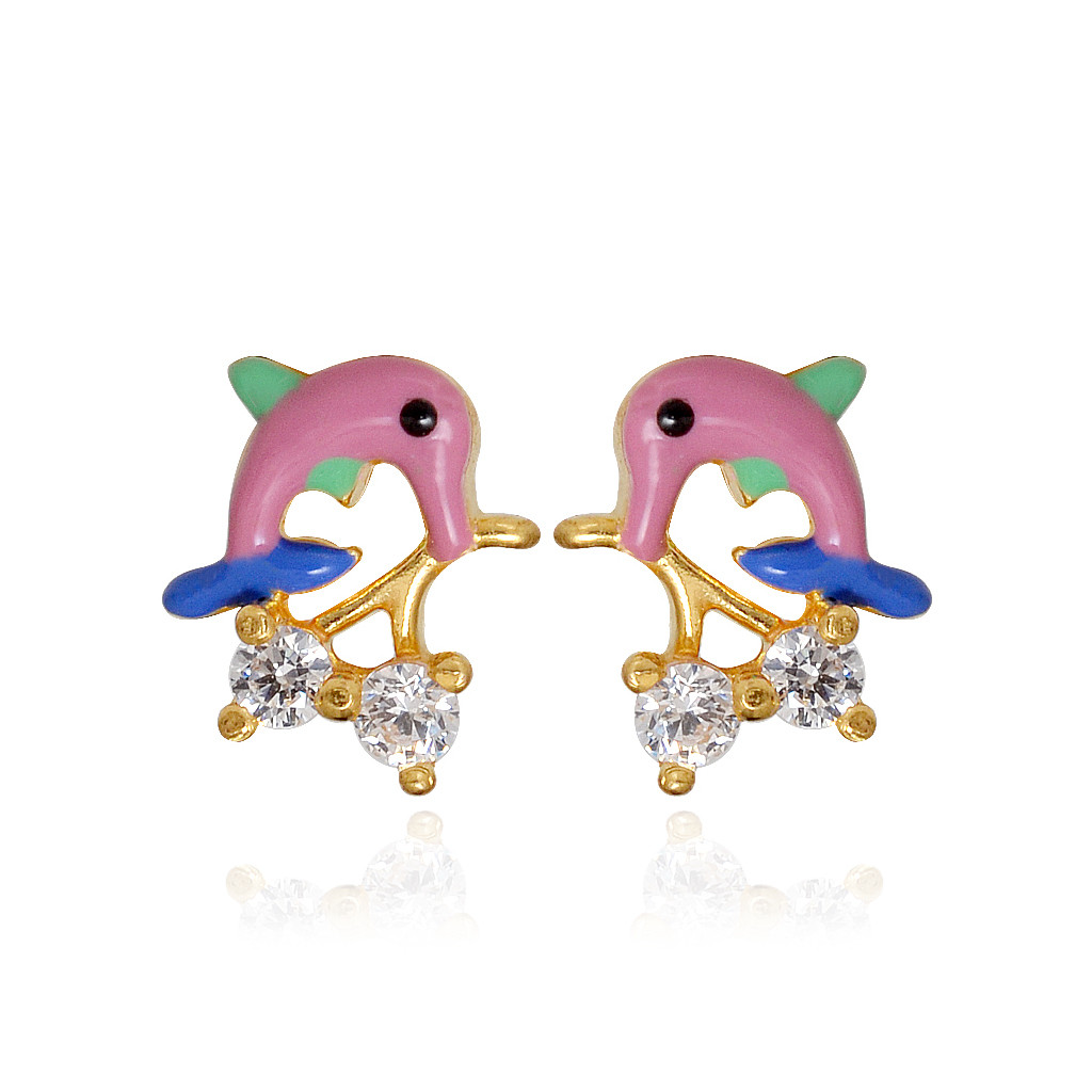 Dolphin with Cherry Blossom Gold Earring