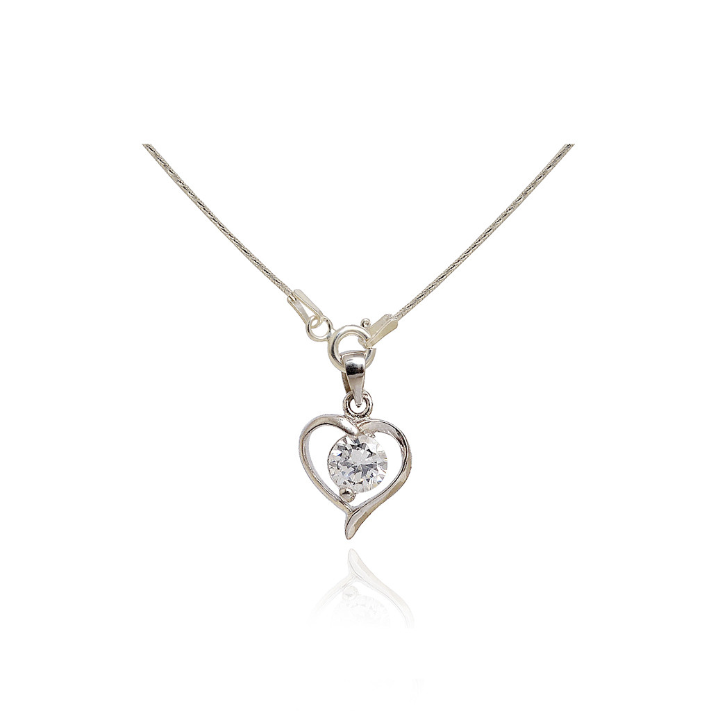925 Sterling Silver Heart Stone Pendant