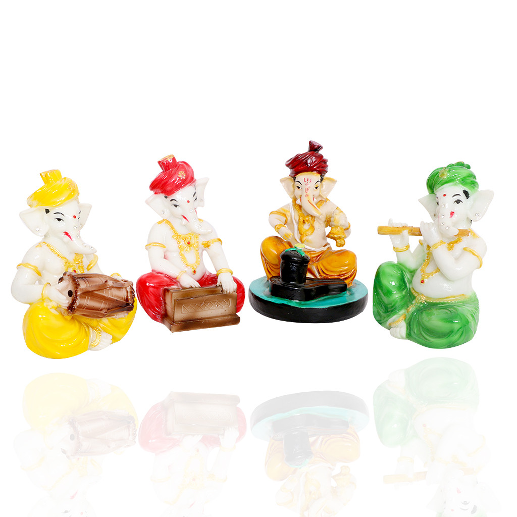 Set of Four Musical Ganesh Idols