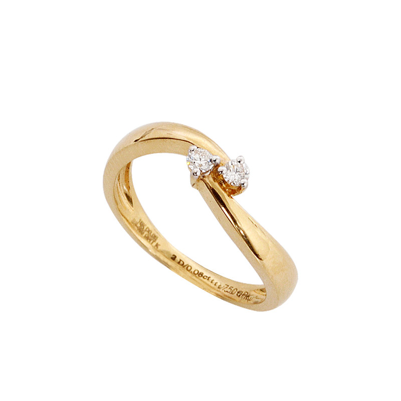 Twin Diamond Cross Over 18KT Gold Ring