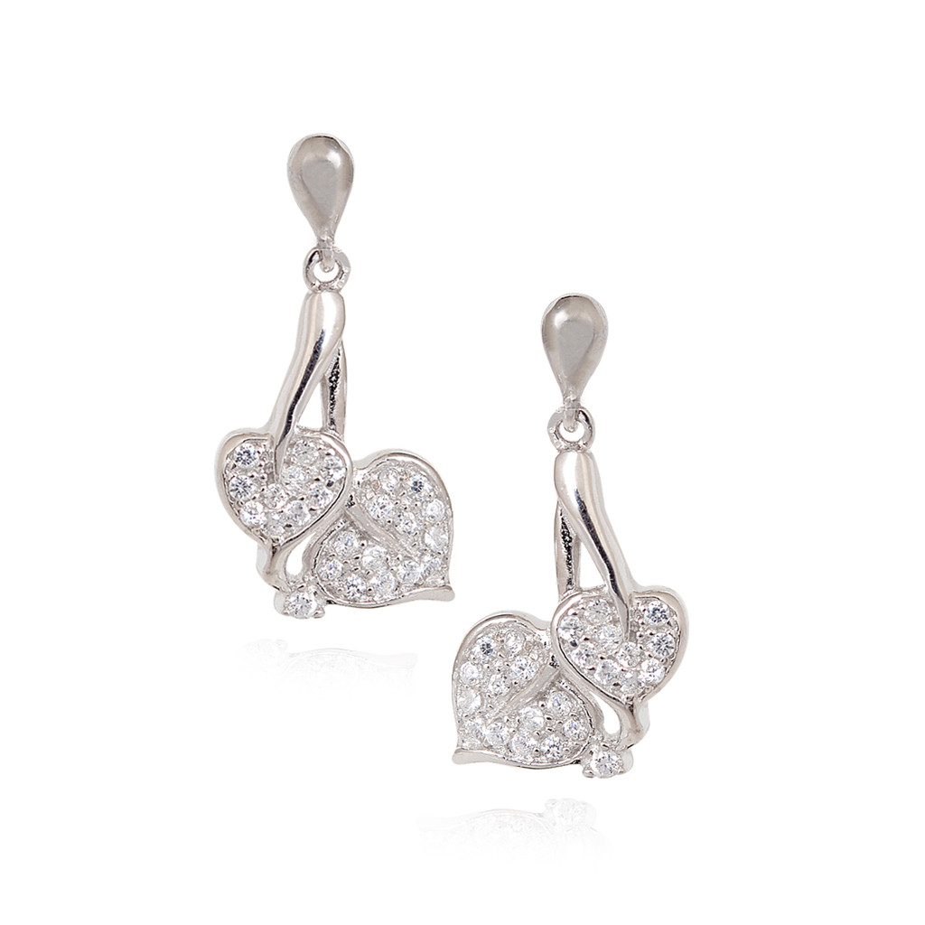Dual Heart Silver Leaf Earring
