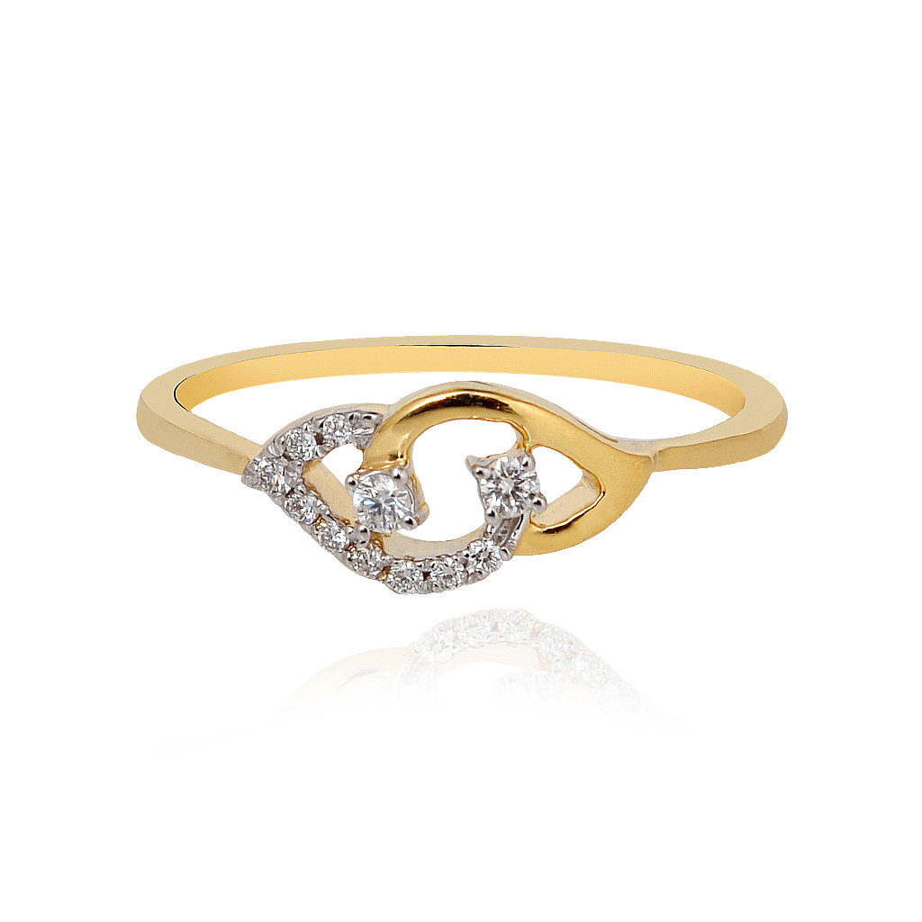 Twin Leaf Diamond Stone Gold Ring