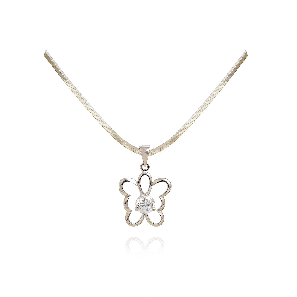 Sterling Silver Butterfly Pendant with White Stone