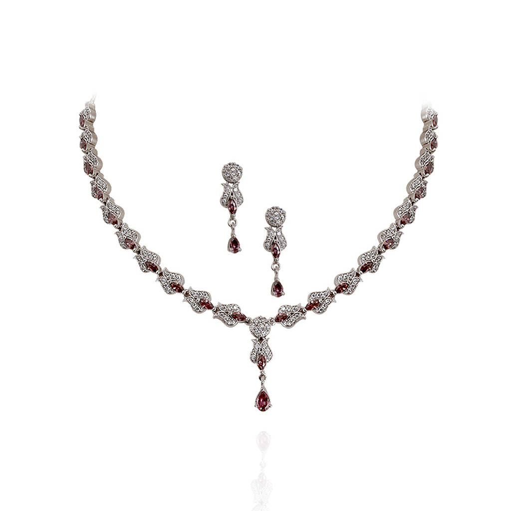 Garnet Stone Fancy Silver Necklace with Drops