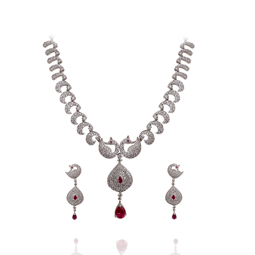 Enchant White Stone Peacock Silver Necklace Set