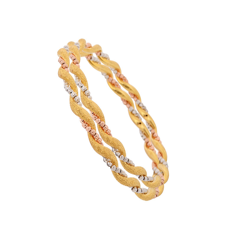 Gold Twist Bangles with Rhodium Balls