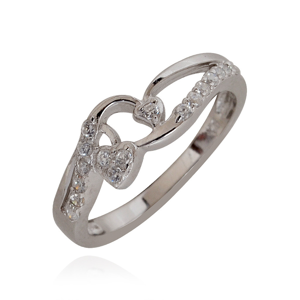 Dual Heart Silver Stone Ring