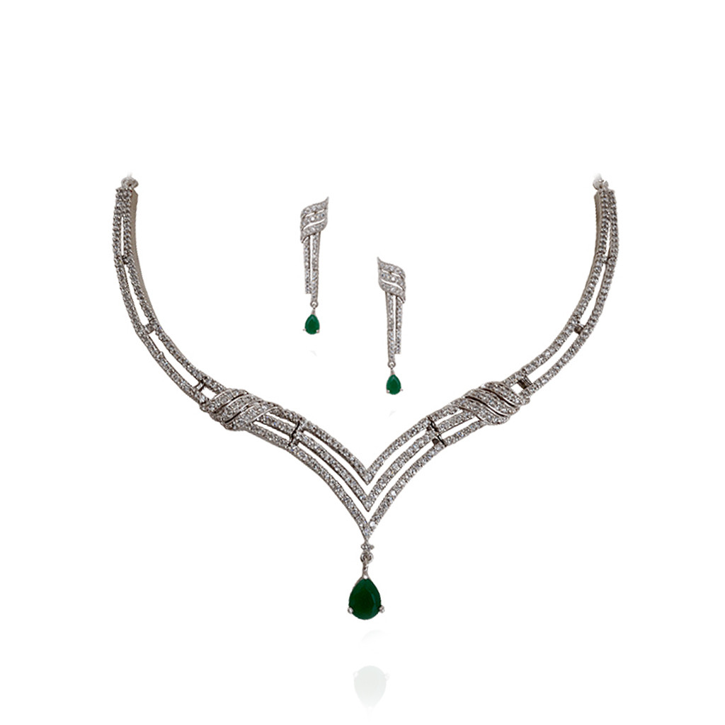 Musical Arrow Green Stone Necklace Set