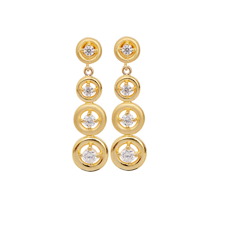 Stone Studded Four Row Drop Gold Earring
