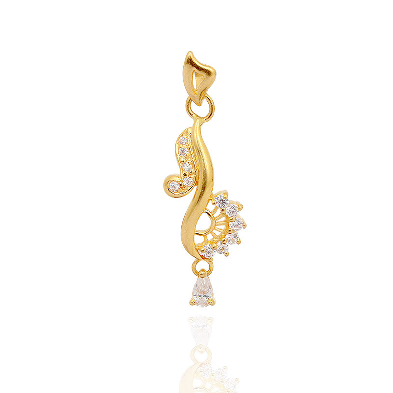 STONE STUDDED MUSICAL GOLD PENDANT